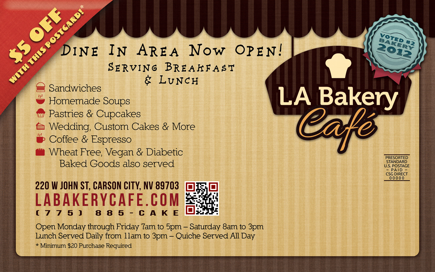 LA Bakery Postcard Back